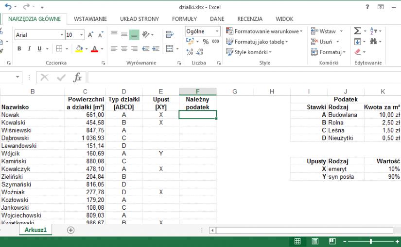 Excel – materiały, podatek od nieruchomości